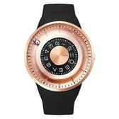 【台南 時代鐘錶 ODM】JUPITER 木星系列 獨特滾珠時間顯示設計腕錶 DD159-04 矽膠帶 玫瑰金 44mm