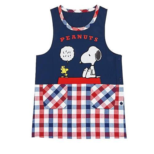 Sanrio SNOOPY罩衫式圍裙(藍紅格紋)★funbox★_654566
