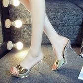 夏新款細跟涼鞋性感一字拖高跟女拖鞋顯瘦魚嘴金色時尚涼拖鞋女鞋