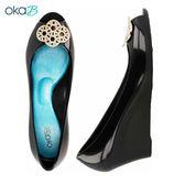 【OkaB】ROSA鑽飾魚口楔型高跟鞋 黑色(k2047RO-BL)