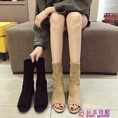 魚嘴馬丁靴女英倫風春季網美靴子時尚高跟鞋馬蹄粗跟春秋短靴超級品牌【公主日記】