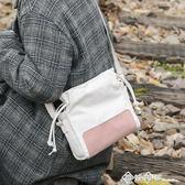 軟妹少女小包包文藝帆布單肩包斜挎包女韓版水桶包森系撞色小背包 西城故事