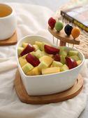 創意乾果盤陶瓷沙拉碗帶叉家用水果盤碗北歐客廳糖果盤小吃點心盤 電購3C