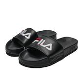 FILA (偏小建議大一號) 黑 皮革 白紅LOGO 基本款 防水 大刺繡 運動 拖鞋 男女 (布魯克林) 4S313T021