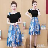 短袖洋裝裙 胖mm夏季新款大碼修身印花裙女裝洋氣很仙的漏肩連身裙 EY6895『東京潮流』