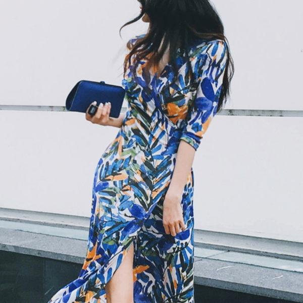 梨卡★現貨 - 復古波西米亞泰國渡假沙灘性感綁帶印花開叉連身長裙連身裙洋裝沙灘裙C6274