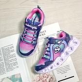 《7+1童鞋》Skechers 愛心電燈 透氣布面 輕量運動鞋 慢跑鞋 D926 紫色
