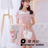 洋裝/春夏新款大碼韓版短袖百搭連身裙時尚顯瘦拼接打底裙「歐洲站」
