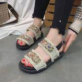 韓國厚底沙灘魔術貼平底羅馬百搭涼鞋女新款防滑串珠學生女鞋  卡布奇諾
