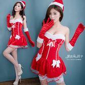 聖誕服 熱銷款 M/L露肩平口洋裝 紅色聖誕裝+長手套+聖誕帽-愛衣朵拉