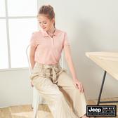 【JEEP】女裝 動物圖騰短袖POLO衫-粉色