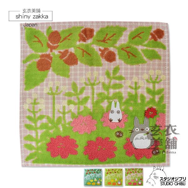 日本毛巾-龍貓花朵純棉小方巾-藍/綠/粉-玄衣美舖