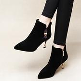 細跟靴大東她女鞋2021小跟短靴新款秋冬季加絨高跟時裝靴子細跟中跟單靴 芊墨左岸