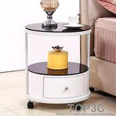 噴花圓形床頭柜簡約現代歐式邊儲物柜茶幾igo「Top3c」