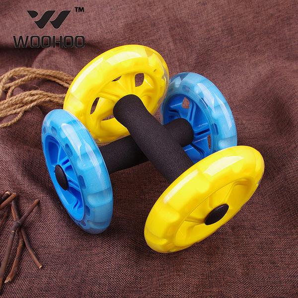 雙輪單手滾輪 超靜音健腹器 多功能四輪腹肌訓練器 健腹輪