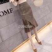 毛呢半身裙中長款季百搭裙子2021新款包臀裙高腰格子魚尾裙女 快速出貨