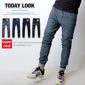 簡約感口袋皮標小直筒休閒褲牛仔褲【N9114J】