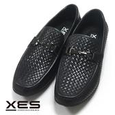 XES編織壓紋休閒鞋 黑色