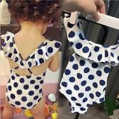 韓版女寶寶兒童泳兒連體波點泳衣1-3歲女童嬰幼兒溫泉游泳衣 公主