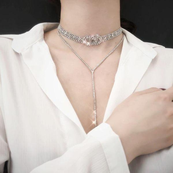 限定款鎖骨鍊 歐美打結閃亮水鑽兩聯迷你頸圈 女 頸帶脖子飾品鎖骨鍊長版項鍊頸鍊