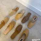 chicli 復古鏤空編織平底穆勒鞋女夏外穿懶人涼拖包頭草編半拖鞋 設計師生活