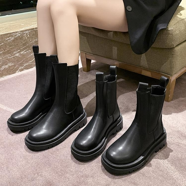 靴子 2021年新款馬丁靴女中筒潮酷煙筒靴厚底增高同款靴子女【快速出貨八折下殺】