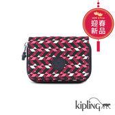 Kipling 磚紅幾何印花長/短夾-小