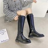 長靴西部帥氣騎士靴女秋季新款百搭黑色軍靴不過膝長筒英倫風長靴
