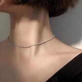 s925銀滿天星項圈頸帶小眾項鍊女簡約網紅氣質choker鎖骨鍊潮頸鍊
