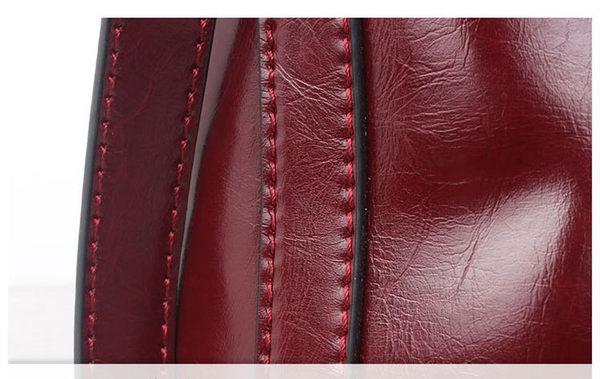 【O-ni O-ni】真皮新款公事手提包女士油蠟素色側肩包HLY-8630-酒紅色
