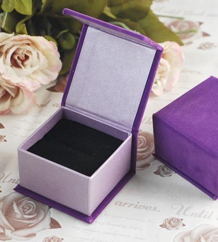 高級絨布磁鐵戒指盒批發(單個/紫)可放耳釘 袖釦 戒指