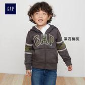 Gap男嬰幼童 Logo基本款條紋連帽運動衫373319-深石楠灰