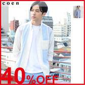 出清 直條紋襯衫 男 拼接 7分袖免運費 日本品牌【coen】