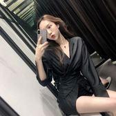 2019秋冬新款氣質女裝性感夜店女裝V領長袖修身收腰連身裙兩件套