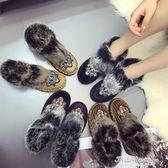時尚鉚釘裝飾圓頭絨面虎頭徽章舒適一腳蹬毛毛鞋女棉鞋潮·蒂小屋