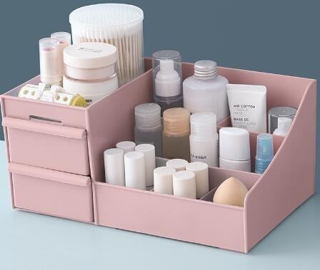 化妝盒 家用大號塑料抽屜式化妝品收納盒桌面梳妝臺口紅護膚品整理置物架【快速出貨八折鉅惠】