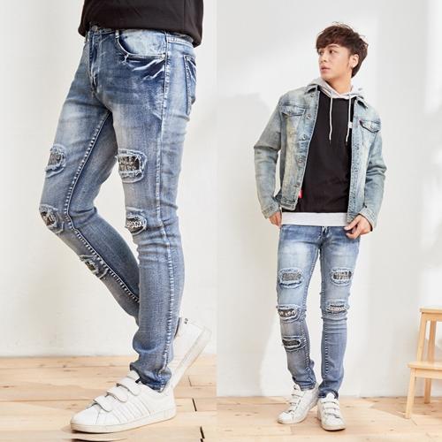 英文刮破造型湛藍牛仔褲
