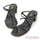 涼鞋 D+AF 夏日清新.一字細帶綁結低跟涼鞋*黑