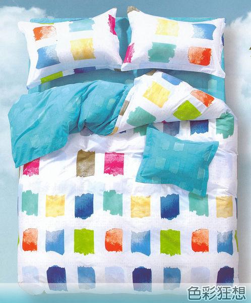 ☆雙人加大鋪棉床包兩用被四件組☆100%精梳純棉6x6.2尺(180x186公分) 加高35CM《色彩狂想》