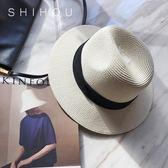 白色英倫夏天禮帽海邊防曬可折疊韓版遮陽帽女夏季度假草帽沙灘帽