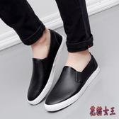 黑色防水皮面樂福鞋英倫休閒軟皮鞋懶人鞋一腳蹬帆布男鞋潮鞋CM530【花貓女王】