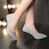 韓版時尚高跟鞋性感百搭尖頭細跟鞋新娘婚鞋女鞋