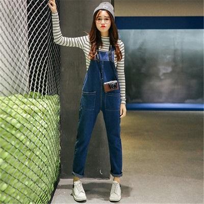 單寧吊帶褲(長褲)-潮流個性對稱口袋女牛仔褲73eo49【時尚巴黎】