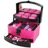 芭比兒童化妝品公主彩妝盒套裝無毒小女孩手提箱玩具娃娃生日禮物
