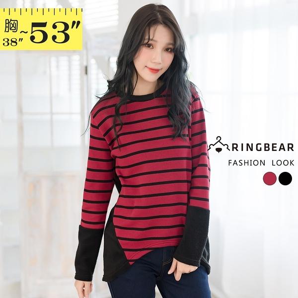毛衣--慵懶厚實感針織圓領直條紋拼接絨毛長袖針織上衣(黑.紅XL-5L)-X210眼圈熊中大尺碼