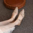 仙女風低跟包頭涼鞋女2021年新款尖頭平底單鞋女後空百搭舒適女鞋