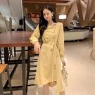 VK精品服飾 韓國風浪漫不規則氣質時尚長袖洋裝