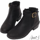 Ann'S帥氣搭配-古銅C釦擦色素面側邊鬆緊短靴-黑