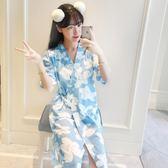 韓版睡裙女夏季短袖家居服和服睡袍女睡衣女
