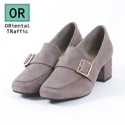 【ORiental TRaffic】時髦釦飾方頭中跟樂福鞋-時髦灰